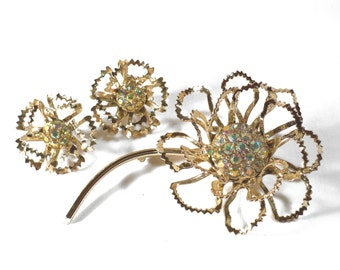 HUGE Vintage Goldtone Flower AB Clear Rhinestone Brooch and Earrings Set Demi Parure Signed Sarah Coventry S576