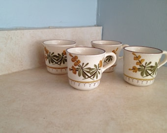 Stangl Golden Blossom Coffee Cups - Set of Four