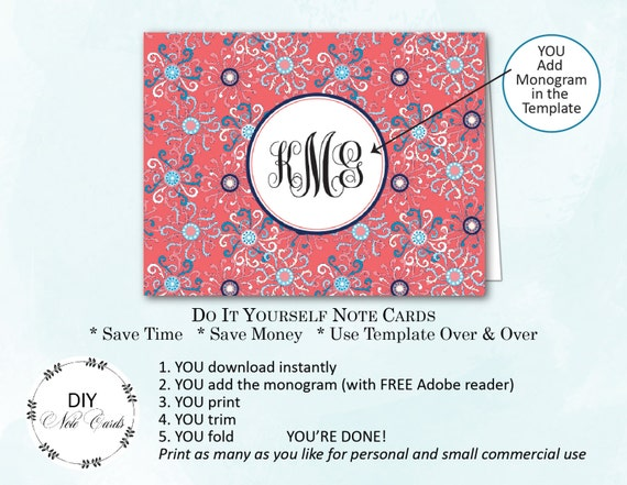 antique bliss diy printable monogram note card you add