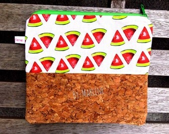 Pencil case / cosmetics bag • melon with Cork •