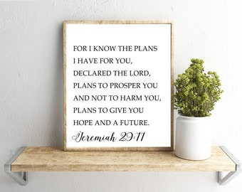 Printable Wall Art, Jeremiah 29:11 Verse, Home Decor, Instant Download