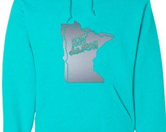 Scuba Blue Hood Sweatshirt with Silver Minnesota map and Glitter hot daMN!