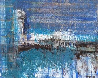 Small abstract acrylic painting in blue and white. Expressive and dynamic art painting.