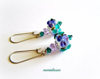 Purple-Aqua-Blue-Green Lampwork Earrings