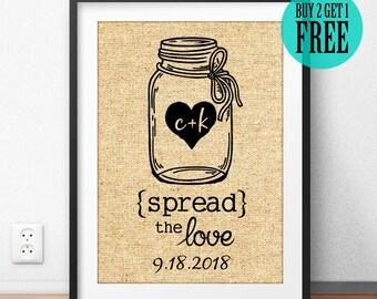 Spread The Love, Jam Mason Jar, Love Print, Burlap Print, Personalized, Anniversary Gifts, Wedding Gifts, Kitchen Decor, Home Decor, CM62