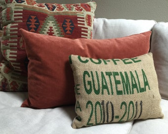 Upcycled Coffee Bag Pillow