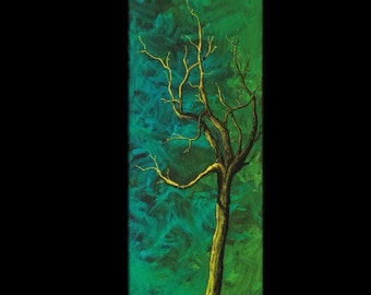 ORIGINAL 8x24 painting - Yellow Tree - KacieArtGallery