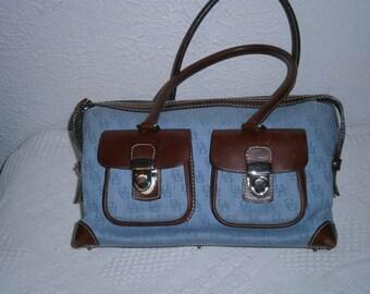 Dooney & Bourke Denim /Chestnut Brown Leather purse