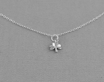 Clover Charm Necklace, Sterling Silver Necklace