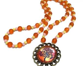 "Necklace sautoir ""tree of life""pink orange"