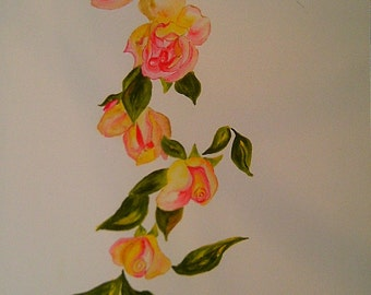 Watercolour Garland of roses