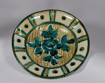 Blue and Gold Italian Glazed Plate
