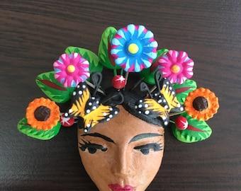 Frida Kahlo Face Clay Pin