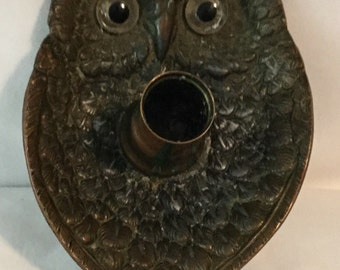 Antique Metal Owl Candle Holder