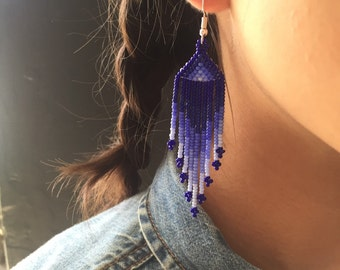Earrings blue Huichol