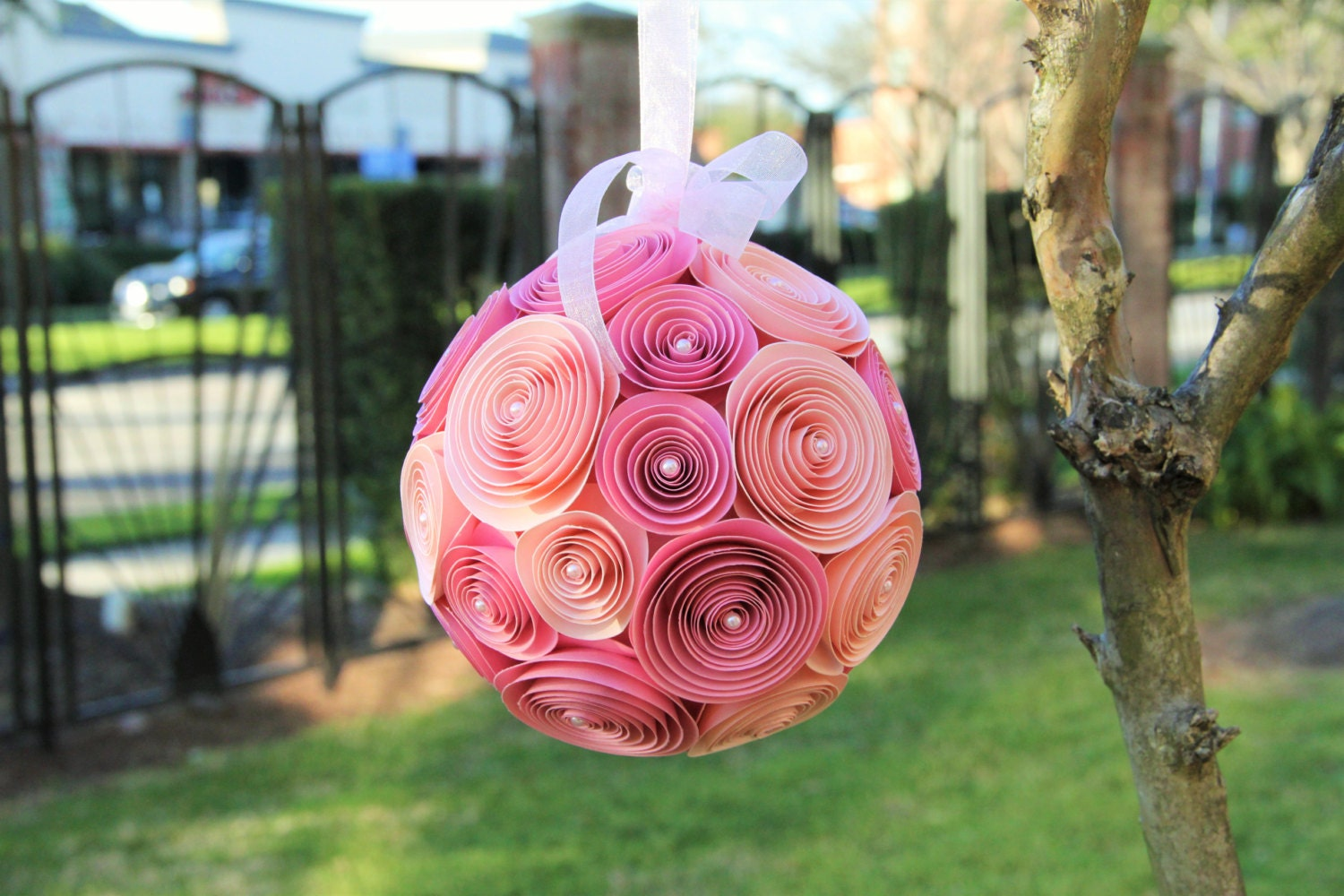 Wedding paper flower pomander ball hanging floral decoration party wedding paper flower pomander ball hanging floral decoration party decor baby shower mightylinksfo Choice Image