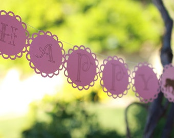 10 ft HAPPY BIRTHDAY GARLAND--5X5--First Birthday--Big--Easy to see Afar---Any Size--Any Color