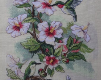 Hummingbirds and hibiscus, Handmade Embroidery, Embroidery Home Decor