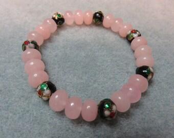 Pink Quartz Bracelet with Black Cloisonne Beads