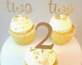 Number two Birthday cupcake toppers, age toppers,gold, bling, second birthday, two, 2, second birthday, Qty: 12