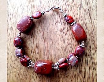Red jasper and sterling silver bracelet