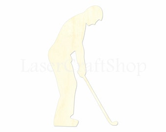 "2"" - 34"" Golf Player Wooden Cutout Shape, Silhouette, Gift Tags Ornaments, Decoration Laser Cut Birch Wood  #1387"