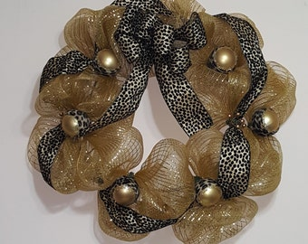 Black and Gold Chic Deco Mesh Wall Wreath
