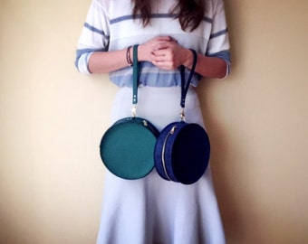 Handmade Royal blue/ Moss Green Leather Circle Bag - Round Leather Bag - Leather Clutch Bag - Gift for her