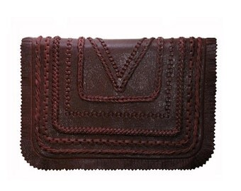 Winter sale KOVA hand-braided leather bag burgundy