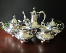 Antique Victorian Coffee and Tea Set Silver Plate Tea And Coffee Set Rose Coffee Tea Creamer Sugar Waste Bowl Quadruple Plate