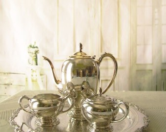 Vintage Silverplate Tea Set Service Set With Tray