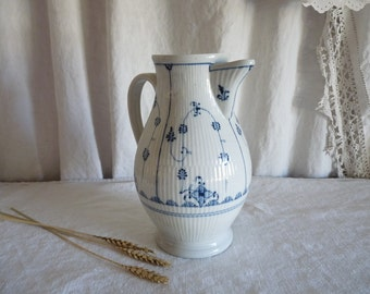 Vintage French Pitcher Jug Carafe Saxony blue and white design  water jug