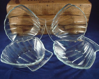 Pyrex Scallop Shell Dishes x4 Vintage Glass Clear Glass Shell Shaped Dish