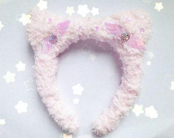 Kawaii Angelic Fluffy Cat Ears Headband, Fairy Kei, Pastel Kei, Sweet Lolita, Harajuku etc Inspired