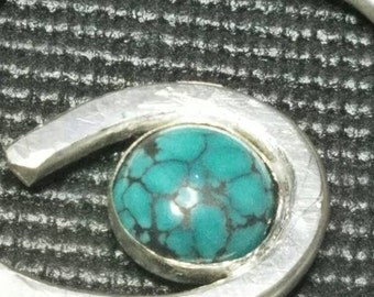 Chinese turquoise and sterling silver pendant