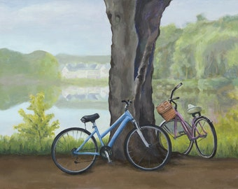 Bicycle stretched canvas gallery wrap,  Bicycle decor, Bicycle art print,  Canvas landscape painting, housewarming gift, gift for new home