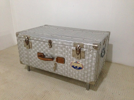 Aluminum Steamer Trunk Coffee Table