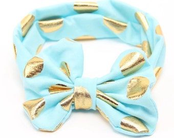 Blue metallic Bowknot