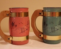 2 Vintage SiestaWare Mini Mugs with wooden handles. Light Pink and Light Blue Mugs with Metal bands and Hawaiian themed imprint
