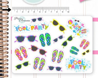 FlipFlops Stickers Pool Party Stickers Sunglasses Stickers Planner Stickers Erin Condren Functional Stickers Decorative Stickers NR653