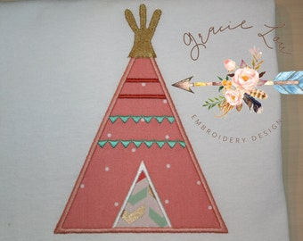 "Teepee embroidery design 4""x4"" and 5""x7"", indian tent embroidery design,"