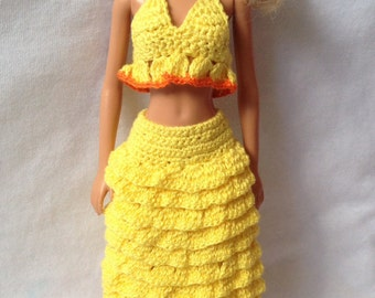 Crochet Barbie froufrou skirt and top, handmade Barbie Clothes, yellow crochet skirt and top, doll clothes, Barbie outfit, summer skirt