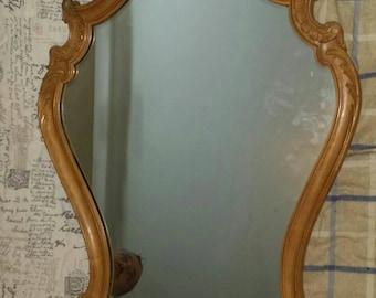 Large ornate oak framed mirror