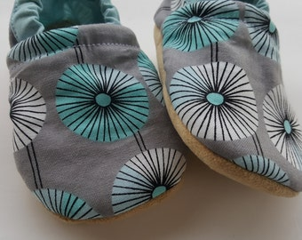 Blue, teal, grey, flower, Moccasins, baby crib shoes, soft sole