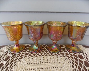 Set of 4 Vintage Indiana Glass Harvest Gold Marigold Drinking Glasses Goblets Grape Pattern 6 oz