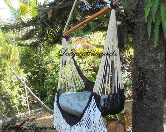 Black and beige chair hammock handwoven _ Swing chair_Cotton _Handmade in Nicaragua_Home decor_