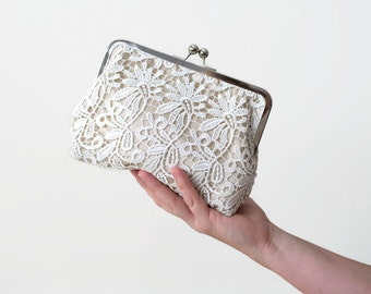 Lace Purse // Photo Lining, Personalised, Wedding, Anniversary, Evening Purse, Gold Elegant, Bridal, Gift, Guipure Lace