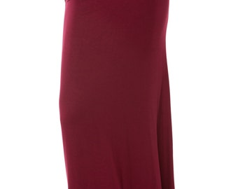 BURGUNDY , NAVY  Fold-Over Maxi Skirt (More Colors)