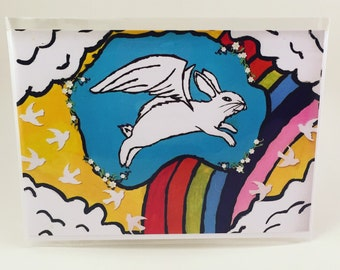 Rainbow Bridge Bunny Greeting Card, blank sympathy card