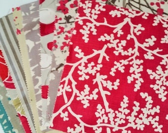 Designer Furnishing Fabric remnant bundle 9 large pieces - Strawberry Pink and Greys - Cotton and Linen mix